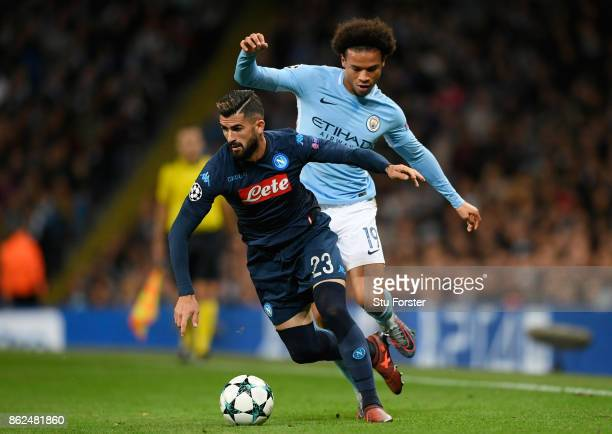 Elseid Hysaj of SSC Napoli and Leroy Sane of Manchester City battle for possession during the UEFA Champions League group F match between Manchester...
