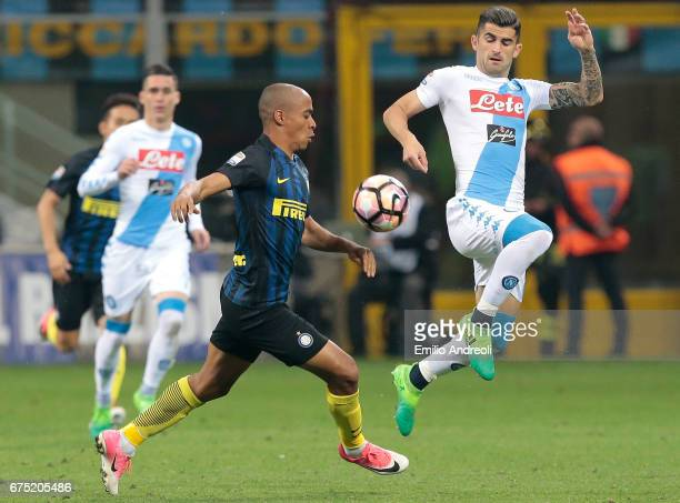 Elseid Hysaj of SSC Napoli competes for the ball with Joao Mario of FC Internazionale Milano during the Serie A match between FC Internazionale and...
