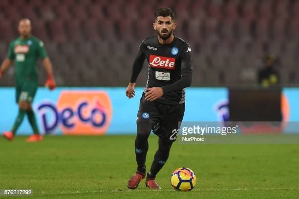 Elseid Hysaj of SSC Napoli during the Serie A TIM match between SSC Napoli and AC Milan at Stadio San Paolo Naples Italy on 18 November 2017