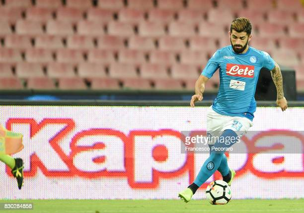 Elseid Hysaj of SSC Napoli in action during the preseason friendly match between SSC Napoli and Espanyol at Stadio San Paolo on August 10 2017 in...