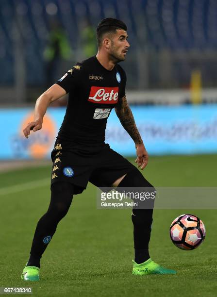 Elseid Hysaj of SSC Napoli in action during the Serie A match between SS Lazio and SSC Napoli at Stadio Olimpico on April 9 2017 in Rome Italy