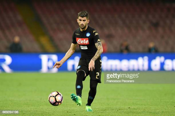 Elseid Hysaj of SSC Napoli in action during the Serie A match between SSC Napoli and Udinese Calcio at Stadio San Paolo on April 15 2017 in Naples...