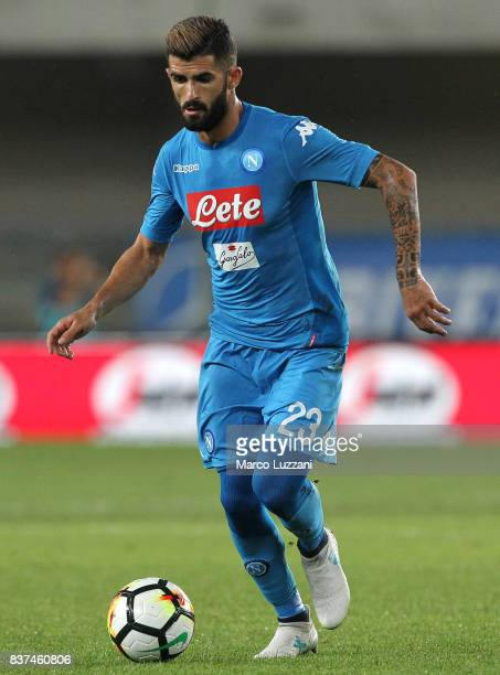 Elseid Hysaj of SSC Napoli in action during the Serie A match between Hellas Verona and SSC Napoli at Stadio Marcantonio Bentegodi on August 19 2017...