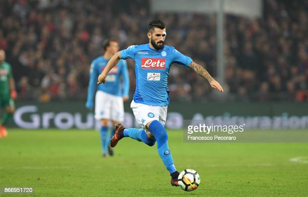 Elseid Hysaj of SSC Napoli in action during the Serie A match between Genoa CFC and SSC Napoli at Stadio Luigi Ferraris on October 25 2017 in Genoa...