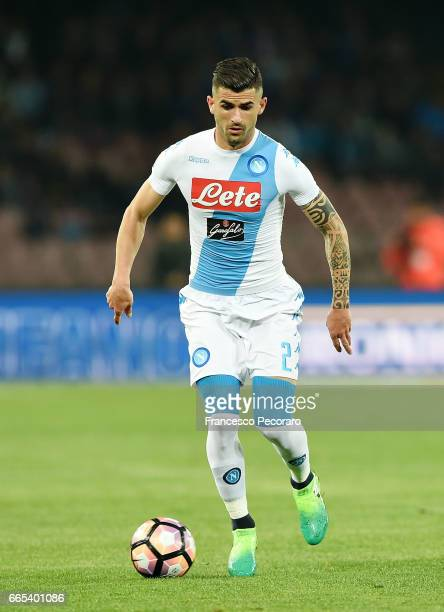 Elseid Hysaj of SSC Napoli in action during the TIM Cup match between SSC Napoli and Juventus FC at Stadio San Paolo on April 5 2017 in Naples Italy
