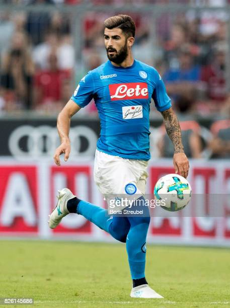 Elseid Hysaj of SSC Napoli runs with the ball during the Audi Cup 2017 match between SSC Napoli and FC Bayern Muenchen at Allianz Arena on August 2...