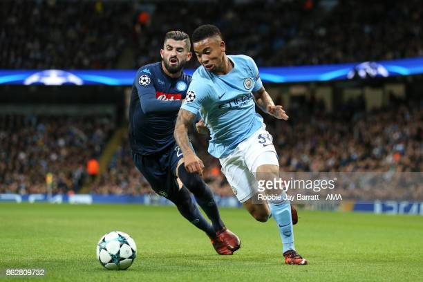 Elsied Hysaj of Napoli and Gabriel Jesus of Manchester City during the UEFA Champions League group F match between Manchester City and SSC Napoli at...
