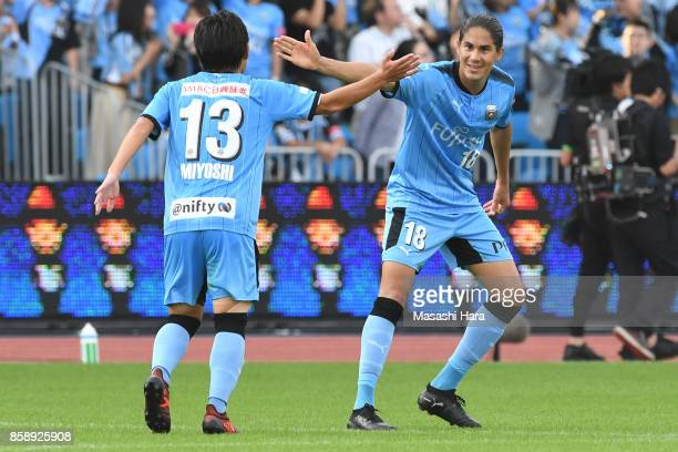 Elsinho and Koji Miyoshi of Kawasaki Frontale celebrate the first goal during the JLeague Levain Cup semi final second leg match between Kawasaki...