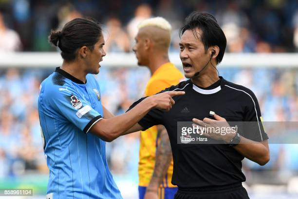 Elsinho of Kawasaki Frontale appeals to referee Masaaki Iemoto during the JLeague Levain Cup semi final second leg match between Kawasaki Frontale...