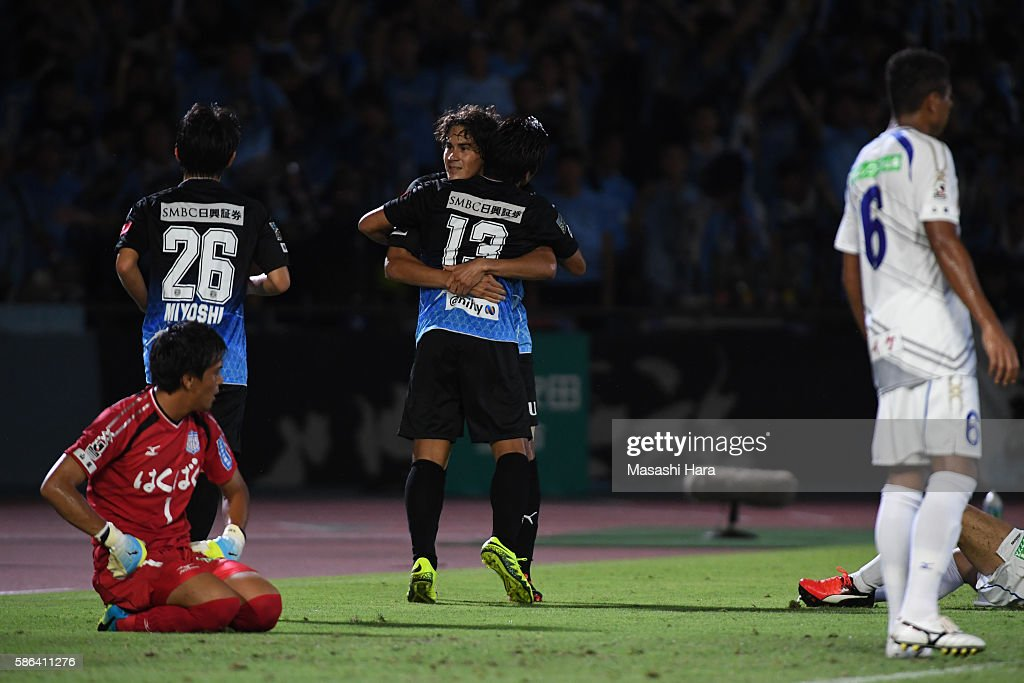 Elsinho of Kawasaki Frontale celebrates the fourth goal during the JLeague match between Kawasaki Frontale and Ventforet Kofu at the Todoroki Stadium...