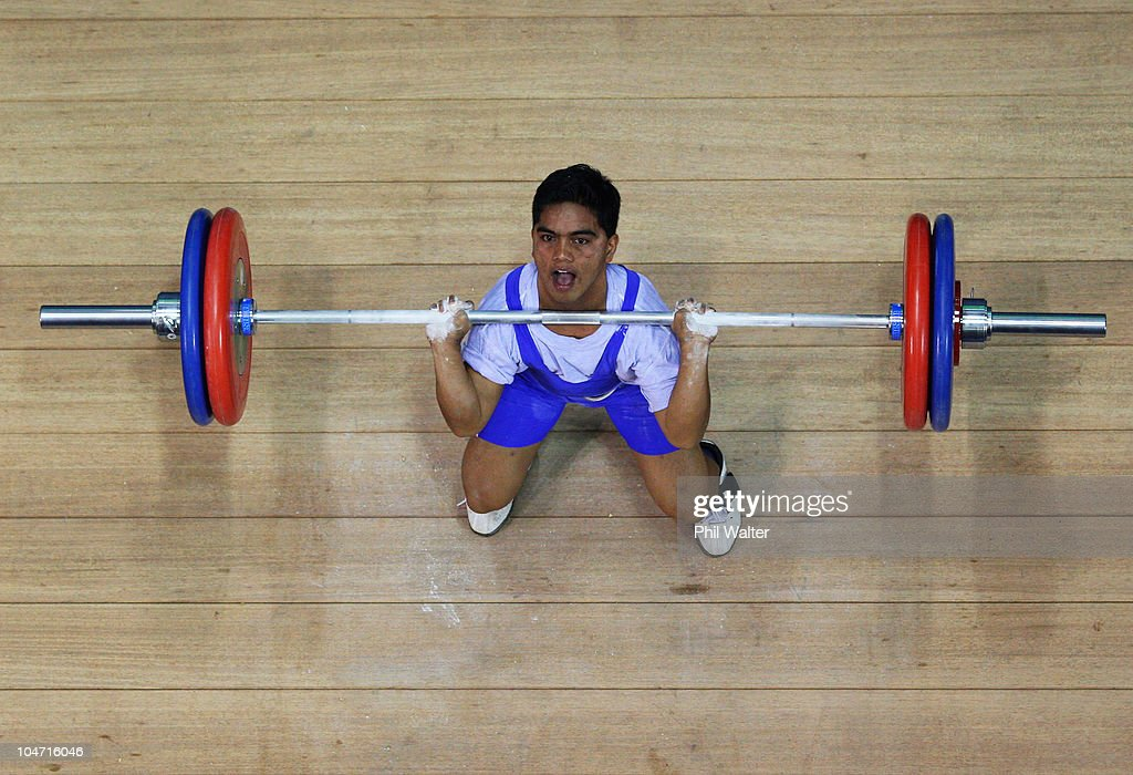 Elson Brechtefeld of Nauru competes in the Mens 56 kg weightlifting final during day one of the Delhi 2010 Commonwealth Games at Jawaharlal Nehru Sports Complex on October 4, 2010 in Delhi, India.