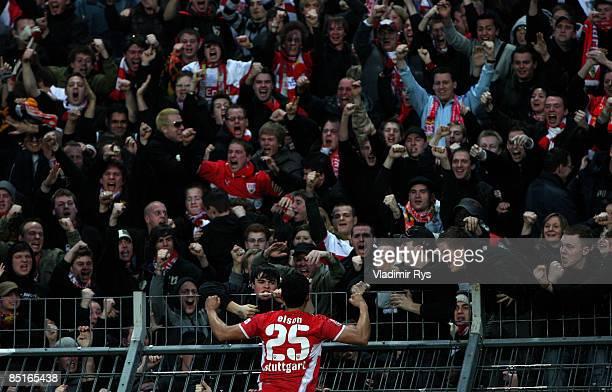Elson Falcao da Silva of Stuttgart celebrates his 01 goal during the Bundesliga match between Karlsruher SC and VfB Stuttgart at the Wildpark stadium...