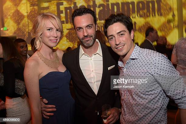 Elspeth Keller actor Reid Scott and Ben Feldman attend the 2015 Entertainment Weekly PreEmmy Party at Fig Olive Melrose Place on September 18 2015 in...