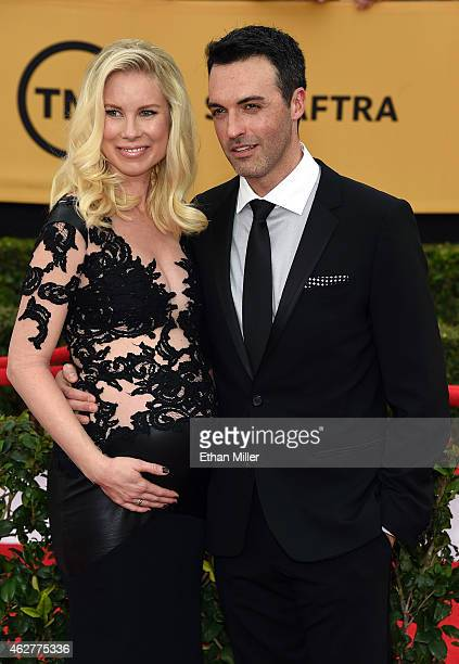 Elspeth Keller and actor Reid Scott attend the 21st Annual Screen Actors Guild Awards at The Shrine Auditorium on January 25 2015 in Los Angeles...