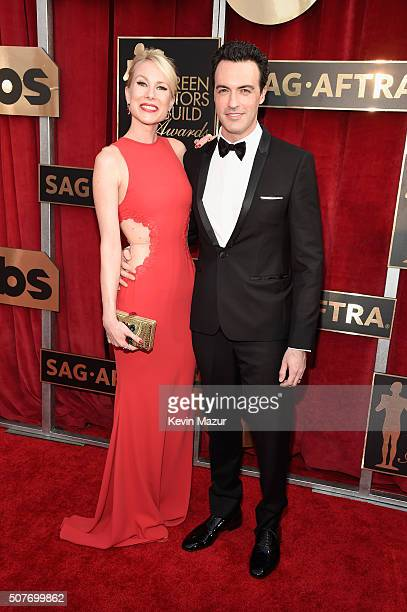 Elspeth Keller and actor Reid Scott attend The 22nd Annual Screen Actors Guild Awards at The Shrine Auditorium on January 30 2016 in Los Angeles...