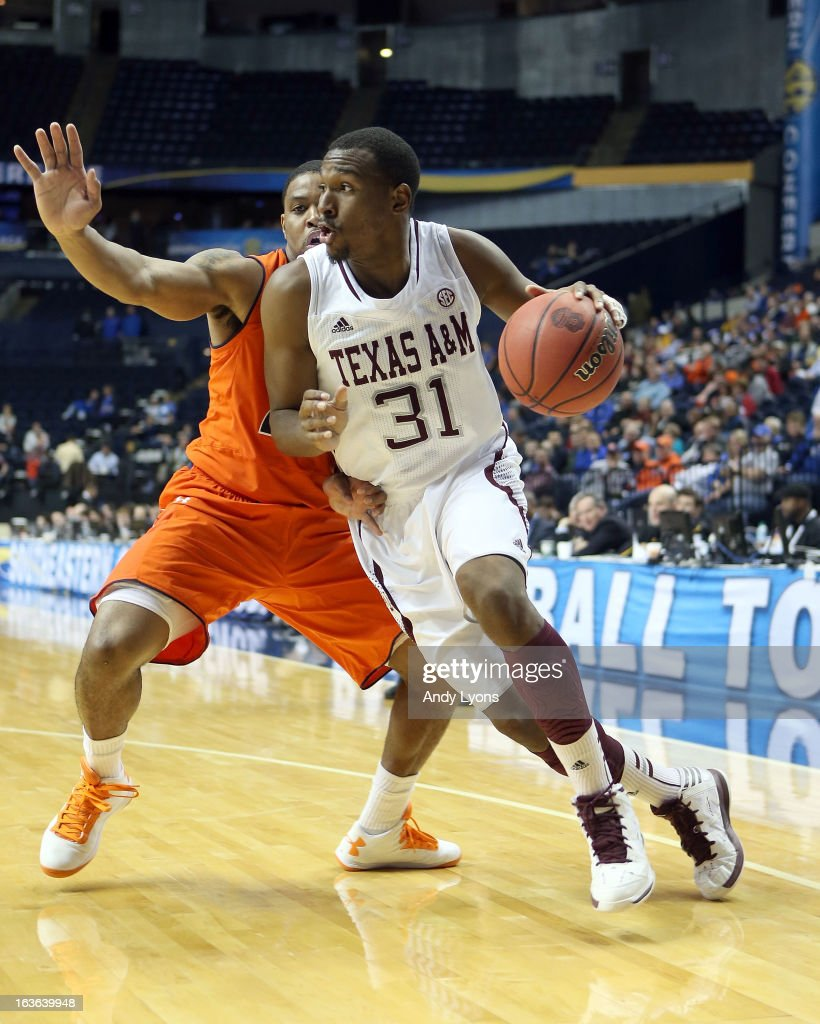 Elston Turner #31 of the Texas A&M Aggies dribbles the ball against the Auburn Tigers during the first round game of the Southeastern Conference Tournament at Bridgestone Arena on March 13, 2013 in Nashville, Tennessee.