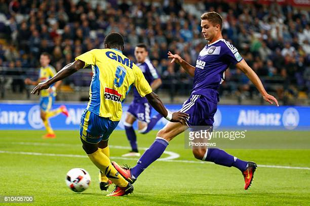 Elton Acolatse forward of KVC Westerlo and Leander Dendoncker midfielder of RSC Anderlecht pictured during Jupiler Pro League match between RSC...