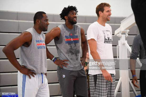 Elton Brand Joel Embiid of the Philadelphia 76ers and Dirk Nowitzki of the Dallas Mavericks goes through a workout as part of Basketball Without...