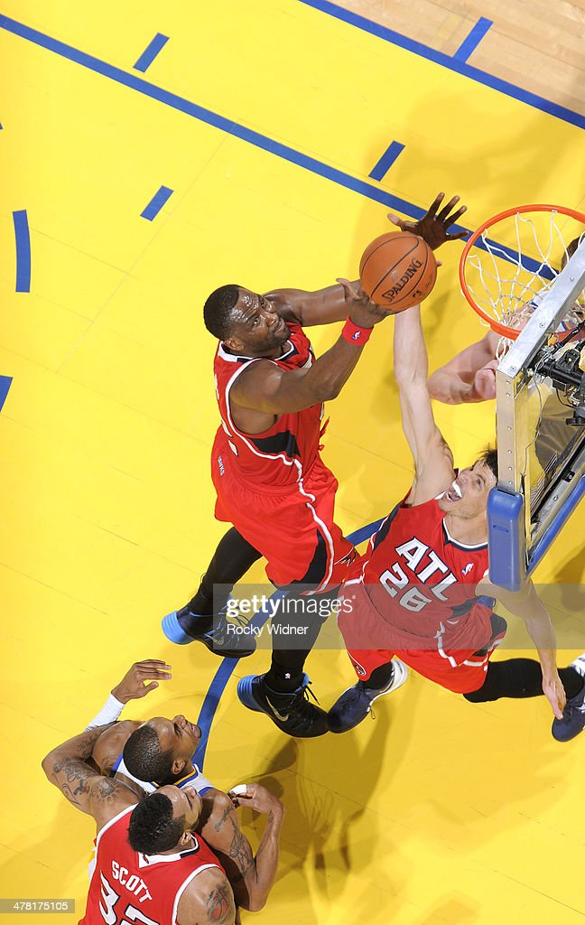Elton Brand #42 of the Atlanta Hawks grabs the rebound against the Golden State Warriors on March 7, 2014 at Oracle Arena in Oakland, California.