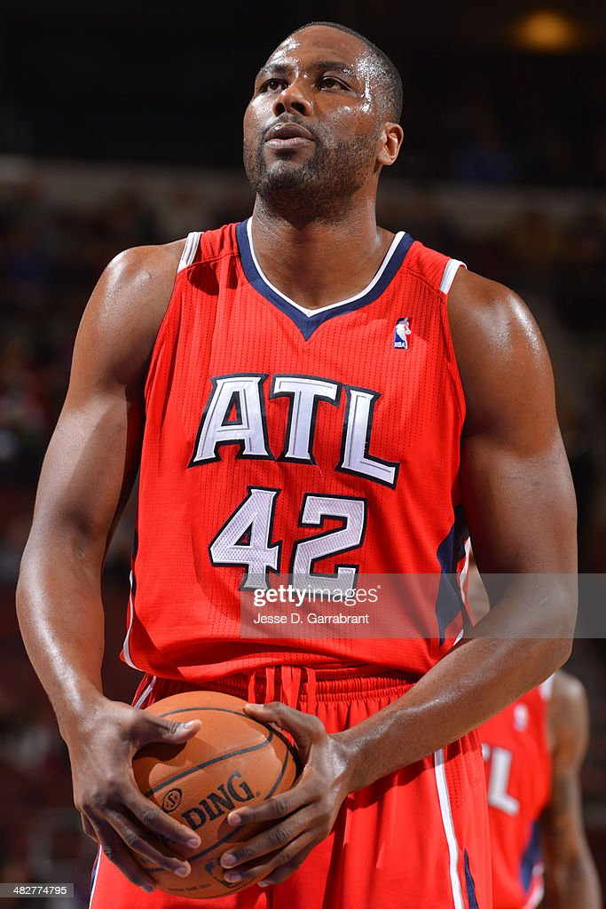 <a gi-track='captionPersonalityLinkClicked' href=/galleries/search?phrase=Elton+Brand&family=editorial&specificpeople=201501 ng-click='$event.stopPropagation()'>Elton Brand</a> #42 of the Atlanta Hawks shoots a free throw during the game against the Philadelphia 76ers at the Wells Fargo Center on January 31, 2014 in Philadelphia, Pennsylvania.