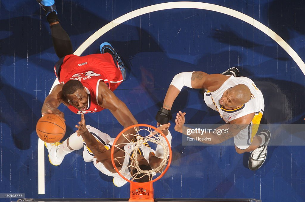 <a gi-track='captionPersonalityLinkClicked' href=/galleries/search?phrase=Elton+Brand&family=editorial&specificpeople=201501 ng-click='$event.stopPropagation()'>Elton Brand</a> #42 of the Atlanta Hawks shoots against the Indiana Pacers at Bankers Life Fieldhouse on February 18, 2014 in Indianapolis, Indiana.