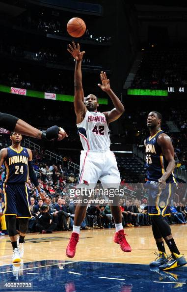 Elton Brand of the Atlanta Hawks shoots the ball against the Indiana Pacers on February 4 2014 at Philips Arena in Atlanta Georgia NOTE TO USER User...
