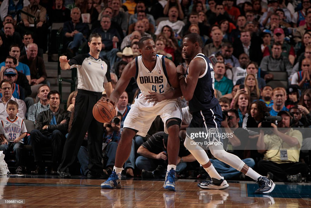 Elton Brand #42 of the Dallas Mavericks drives to the basket against the Oklahoma City Thunder on January 18, 2013 at the American Airlines Center in Dallas, Texas.