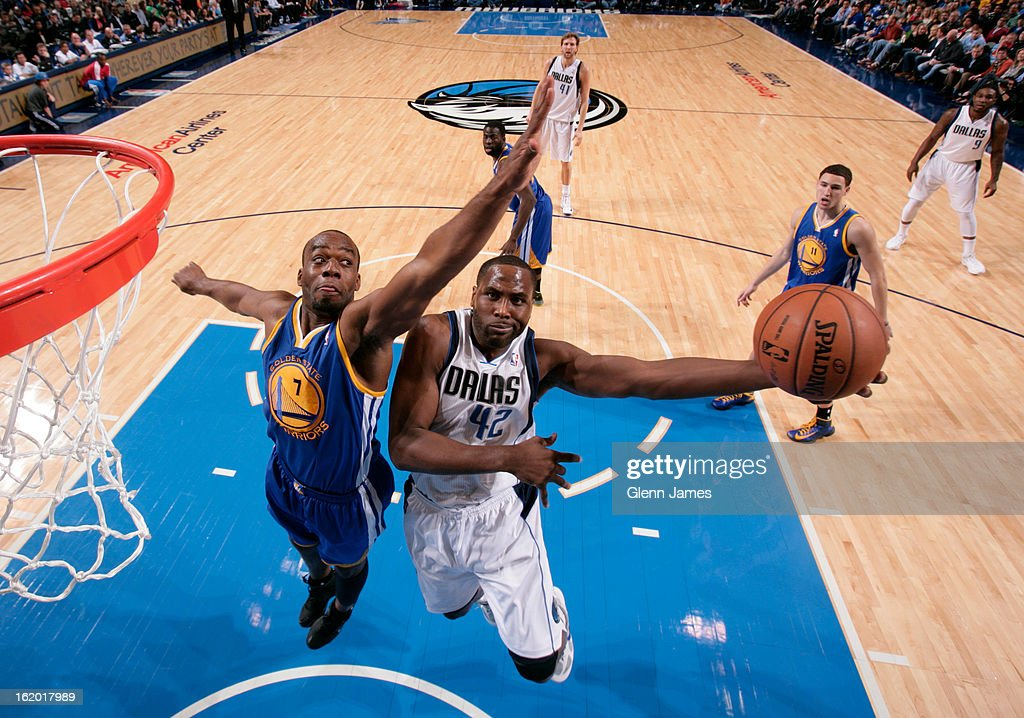 <a gi-track='captionPersonalityLinkClicked' href=/galleries/search?phrase=Elton+Brand&family=editorial&specificpeople=201501 ng-click='$event.stopPropagation()'>Elton Brand</a> #42 of the Dallas Mavericks drives to the basket against the Golden State Warriors on February 9, 2013 at the American Airlines Center in Dallas, Texas.