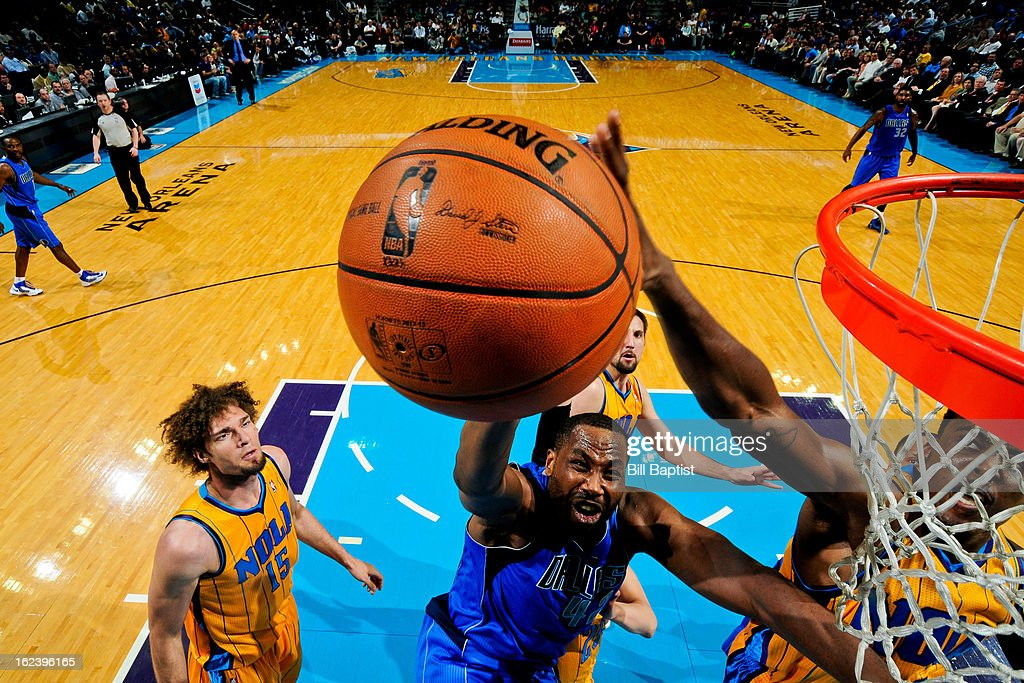 <a gi-track='captionPersonalityLinkClicked' href=/galleries/search?phrase=Elton+Brand&family=editorial&specificpeople=201501 ng-click='$event.stopPropagation()'>Elton Brand</a> #42 of the Dallas Mavericks drives to the basket against the New Orleans Hornets on February 22, 2013 at the New Orleans Arena in New Orleans, Louisiana.