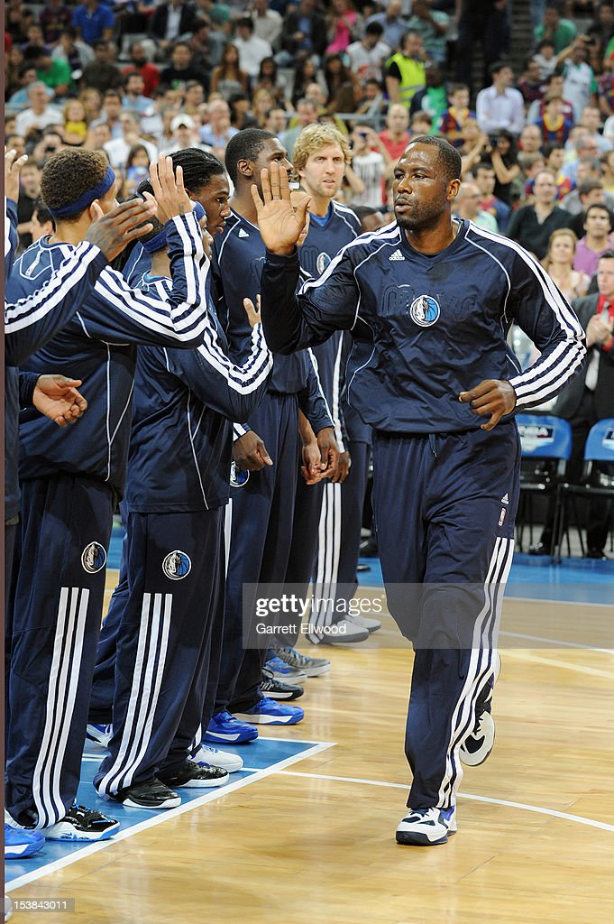 <a gi-track='captionPersonalityLinkClicked' href=/galleries/search?phrase=Elton+Brand&family=editorial&specificpeople=201501 ng-click='$event.stopPropagation()'>Elton Brand</a> #42 of the Dallas Mavericks is introduced against FC Barcelona Regal during NBA Europe Live 2012 on October 9, 2012 at Palau Sant Jordi in Barcelona, Spain.