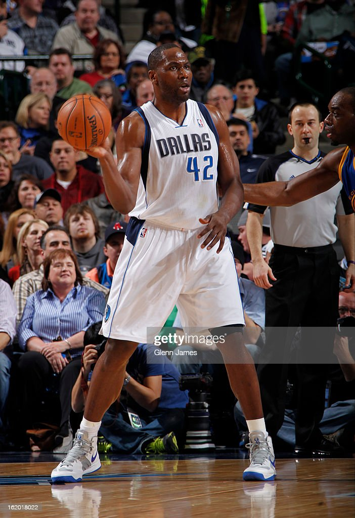 Elton Brand #42 of the Dallas Mavericks looks to pass the ball against the Golden State Warriors on February 9, 2013 at the American Airlines Center in Dallas, Texas.