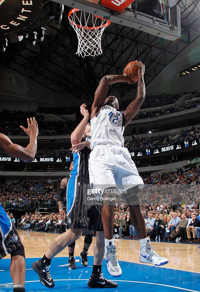 Elton Brand #42 of the Dallas Mavericks rebounds the ball against the Orlando Magic on February 20, 2013 at the American Airlines Center in Dallas, Texas.