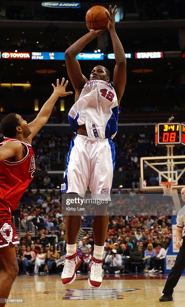 <a gi-track='captionPersonalityLinkClicked' href=/galleries/search?phrase=Elton+Brand&family=editorial&specificpeople=201501 ng-click='$event.stopPropagation()'>Elton Brand</a> of the Los Angeles Clippers pulls up for a jump shot during the NBA game between the Los Angeles Clippers and the Chicago Bulls at the Staples Center in Los Angeles, California, on March 16, 2005. The Clippers defeated the Bulls 83-78.