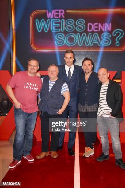 Elton Elyas M Barek Kai Pflaume Juergen Vogel and Bernhard Hoecker during the Photo Call to the TV Show 'Wer weiss denn sowas XXL' on December 2 2017...