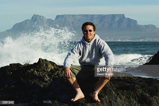 Elton Flatley of Australia poses during a photo shoot on July 9 2003 on Bloubergstrand in Cape Town South Africa