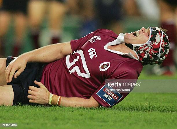 Elton Flatley of the Reds shows some emotion during the round one Super 14 match between the Queensland Reds and Waratahs at Suncorp Stadium on...