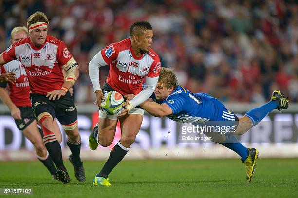 Elton Gantries of the Lions and JeanLuc du Plessis of the Stormers in action during the 2016 Super Rugby match between Emirates Lions and DHL...