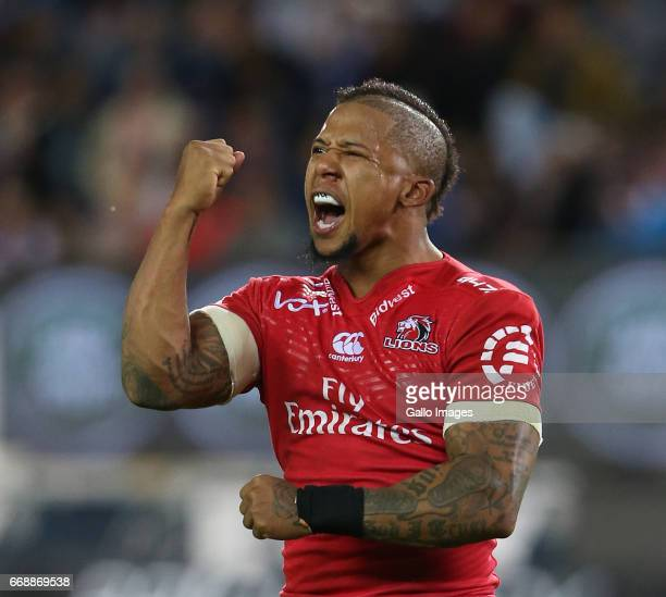 Elton Jantjies of Lions celebrates during the Super Rugby match between DHL Stormers and Emirates Lions at DHL Newlands on April 15 2017 in Cape Town...