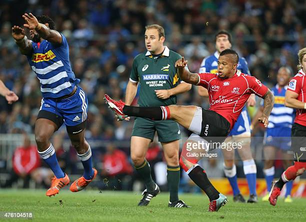 Elton Jantjies of Lions during the Super Rugby match between DHL Stormers and Emirates Lions at DHL Newlands Stadium on June 06 2015 in Cape Town...