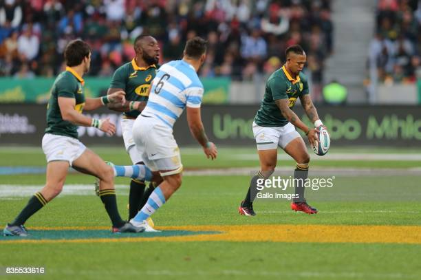 Elton Jantjies of South Africa attempts a drop goal during the Rugby Championship match between South Africa and Argentina at Nelson Mandela Bay...