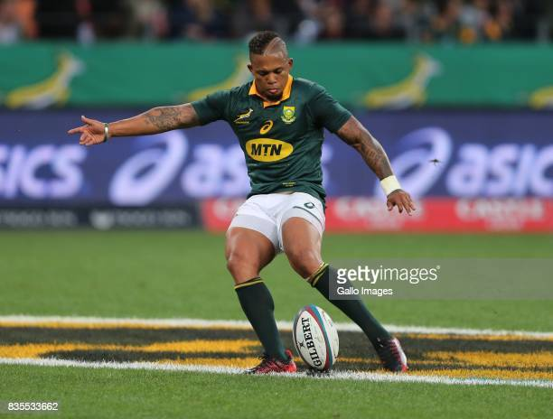 Elton Jantjies of South Africa converts the try during the Rugby Championship match between South Africa and Argentina at Nelson Mandela Bay Stadium...