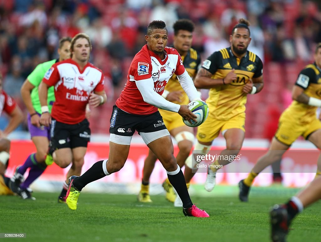 Elton Jantjies of the Emirates Lions during the round 10 Super Rugby match between Emirates Lions and Hurricanes at Emirates Airline Park on April 30, 2016 in Johannesburg, South Africa.