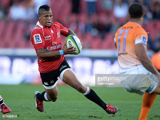 Elton Jantjies of the Lions attacks during the Super Rugby match between Emirates Lions and Toyota Cheetahs at Emirates Airline Park on April 25 2015...