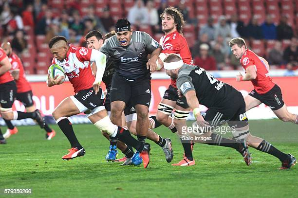Elton Jantjies of the Lions during the Super Rugby match between the Emirates Lions and Crusaders at Emirates Airline Park on July 23 2016 in...
