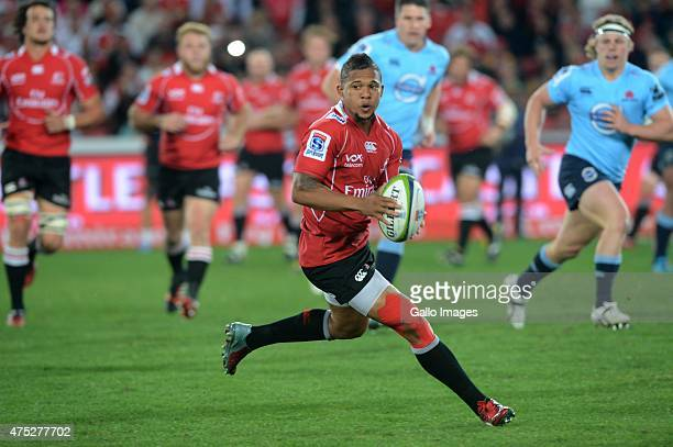 Elton Jantjies of the Lions in action during the Super Rugby match between Emirates Lions and Waratahs at Emirates Airline Park on May 30 2015 in...