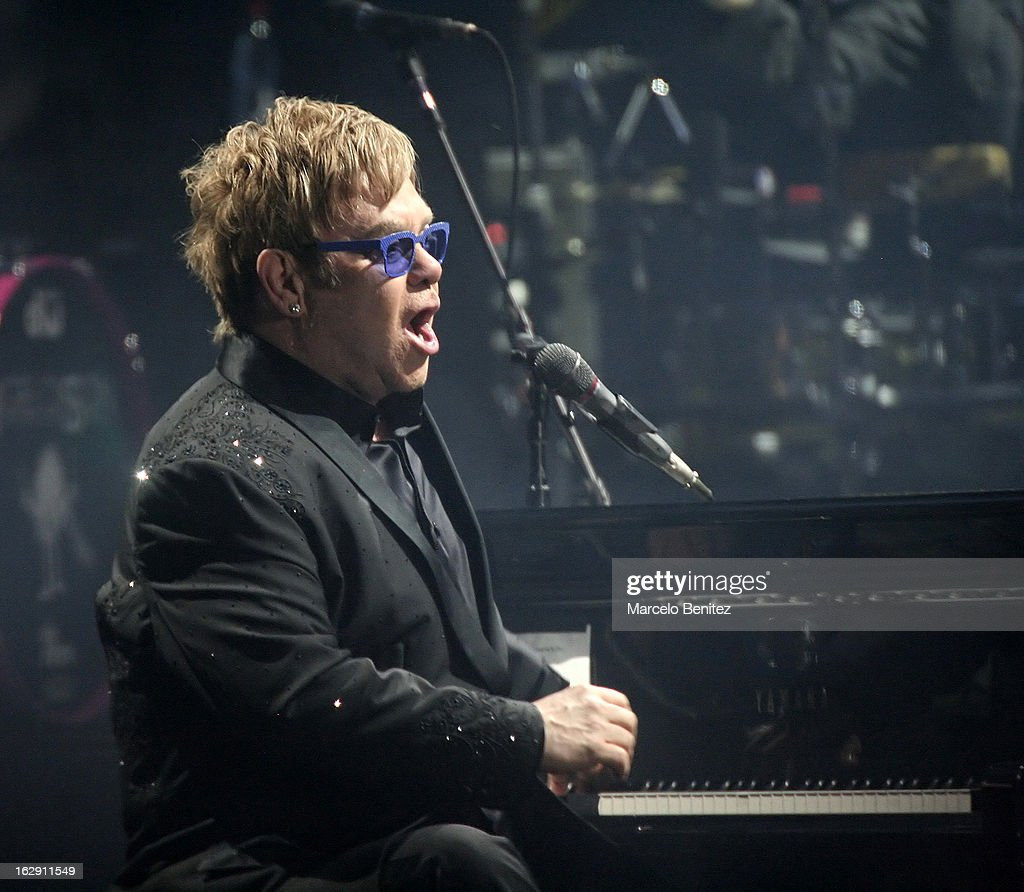 Elton Jhon during his presentation on stage at the 53rd Vina del Mar International Music Festival 2013 on February 28, 2013 in Viña del Mar, Chile.