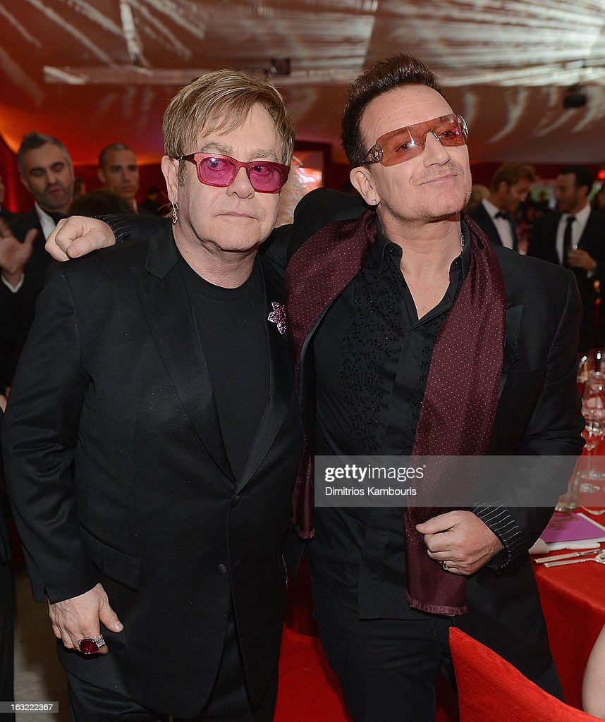 Elton John and Bono attend the 21st Annual Elton John AIDS Foundation Academy Awards Viewing Party at Pacific Design Center on February 24, 2013 in West Hollywood, California.
