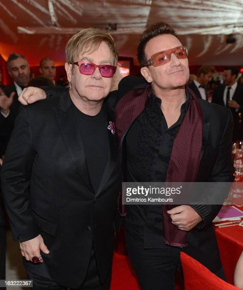 Elton John and Bono attend the 21st Annual Elton John AIDS Foundation Academy Awards Viewing Party at Pacific Design Center on February 24 2013 in...