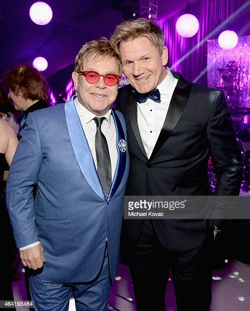 Elton John and Chef Gordan Ramsey attend the 23rd Annual Elton John AIDS Foundation Academy Awards Viewing Party on February 22 2015 in Los Angeles...