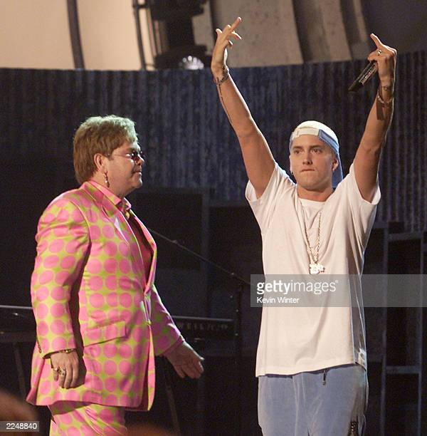 Elton John and Eminem perform at the 43rd Annual Grammy Awards at Staples Center Los Angeles Ca 2/21/01